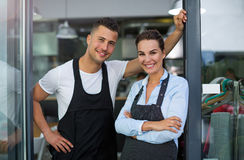 Man and woman working at cafe Royalty Free Stock Photo