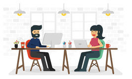 Man and woman working in coworking space. royalty free illustration