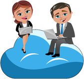 Man Woman Working Laptop Cloud Computing Stock Photography