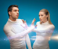 Man and woman working with magic. Picture of men and women working with magic stock image