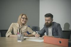 Man and woman working in office. Collaborative teamwork concept Royalty Free Stock Image