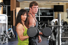 Man and woman working out Royalty Free Stock Photos