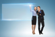 Man and woman working with virtual screen Stock Image