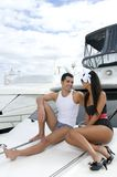 Man and woman in a yacht Royalty Free Stock Image