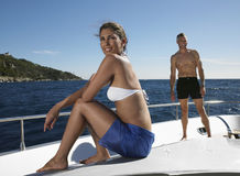 Man And Woman On Yacht Stock Photography