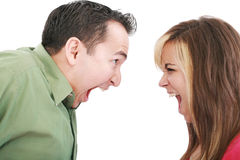 Man and woman yelling at each other Royalty Free Stock Photo