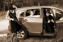 Man and womans in car Stock Photo
