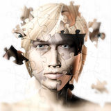 Man and Womans faces combined Royalty Free Stock Photo