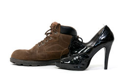 Man and Womans Shoes Royalty Free Stock Photography