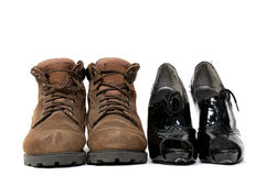 Man and Womans Shoes Royalty Free Stock Photos