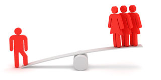 Man and women. Red figures of man and woman on the scales Stock Photo