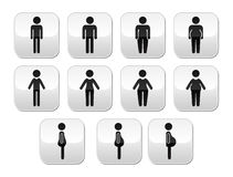 Man and women body type buttons - slim, fat, obese, thin Stock Photography
