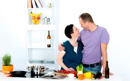 Man and woman cooking together Stock Photo