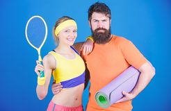 Man and woman couple in love with yoga mat and sport equipment. Fitness exercises. Workout and fitness. Girl and guy stock photos