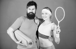 Man and woman couple in love with yoga mat and sport equipment. Fitness exercises. Workout and fitness. Girl and guy stock photo