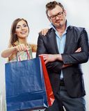 Man, woman couple shopping portrait. Shopping bags Stock Image