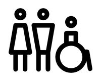 Man, women and disabled sign Stock Images