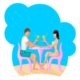 Man and women drinking a coctail. Vector ilustration Royalty Free Stock Photo