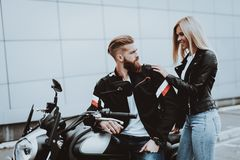 Man And Women Are Going For Ride. Bikers Concept stock photos