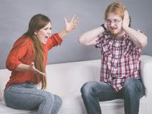 Man and woman having fight stock photo
