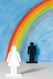 Man and women icons with a rainbow and blue sky. To illustrate the concept of gender equality and discrimination; woman in foreground Stock Photos