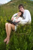 The man and women with laptop Royalty Free Stock Photo