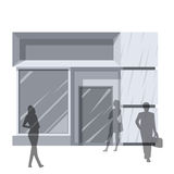 Man and women outside store Royalty Free Stock Photography