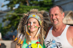 Man and women participate in the Full Moon party on island Koh Phangan.  Thailand Stock Photos