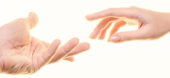 Man and women`s hands. Are isolated on a white background Stock Photo