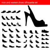 Man and women shoes silhouette. Set of man and women shoes silhouette vector Stock Images