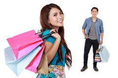 Man and woman with shopping bag Stock Images