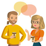 Man and women talking. Talk of couple or colleagues. Vector. Illustration Stock Photo