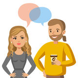 Man and women talking. Talk of couple or colleagues. Vector Stock Photos