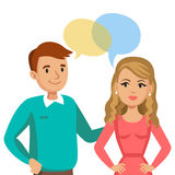 Man and women talking. Talk of couple or friends. Vector Stock Photo