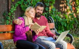 Man and woman use different information storage. Couple spend leisure reading. Information source concept. Couple with. Man and women use different information royalty free stock image