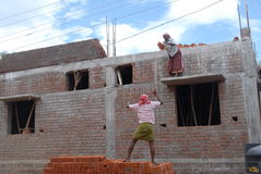 A man and women working in a construction site. A man and a women working in a construction site for building a home which is on progress. he is throwing a brick Royalty Free Stock Image