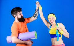 Man and woman with yoga mat and sport equipment. Fitness exercises. Workout and fitness. Girl and guy live healthy life royalty free stock photography