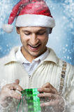 Man wonder two christmas gift bag Royalty Free Stock Photography