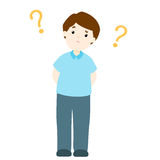 Man wondering cartoon character. Illustration Royalty Free Stock Photo