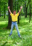 Man in a wood Royalty Free Stock Images