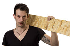 Man with wood board Stock Photo