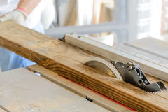 Man wood working table saw with hands and glove Stock Image