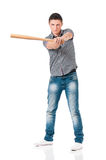 Man with wooden baseball bat Stock Photos