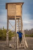 Man on a wooden hunting tower for archery of wild animals stock photos