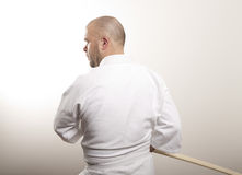 Man with wooden sword stock photos