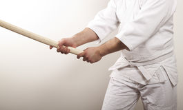 Man with wooden sword Royalty Free Stock Images