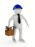 Man with wooden toolbox Stock Photos