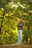 Man in the woods Royalty Free Stock Images