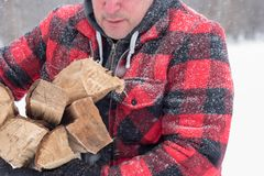 Man in wool jacket covered in snow bringing in firewood. Adult man in wool jacket covered in snow bringing in firewood on a cold winter day stock image