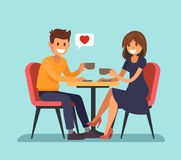Man and wooman sitting in a cafe. Vector flat style Stock Photos